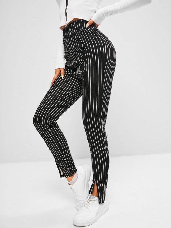 women's ZAFUL Pinstripe Slit Cuffs Skinny Pants - BLACK L