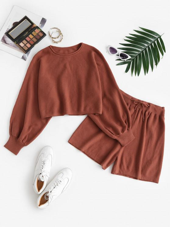 lady Lantern Sleeve Cropped Knitted Two Piece Set - COFFEE ONE SIZE