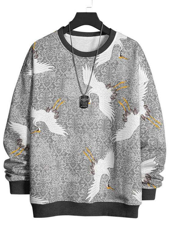 chic Flying Crane Vintage Tribal Floral Print Sweatshirt - LIGHT GRAY XS