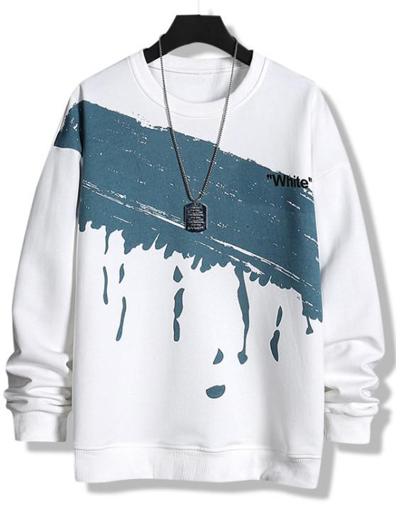 Paint Splatter White Print Crew Neck Sweatshirt - أبيض XS