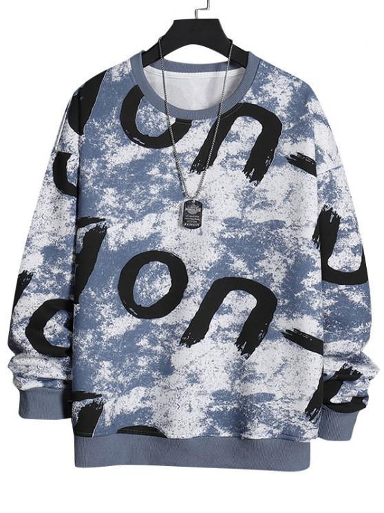 Camisa Pulôver de gola redonda com impresso de letras - Cinza Azulado XS