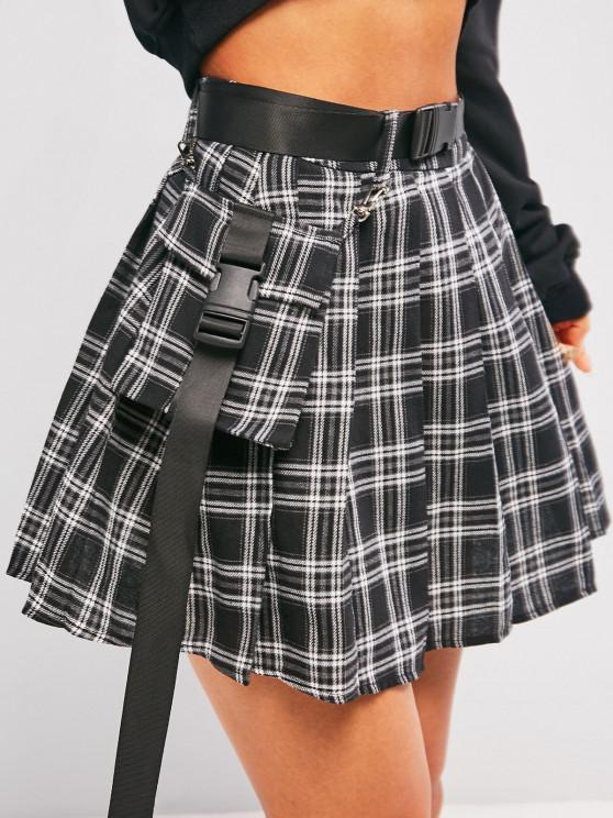 womens ZAFUL Plaid Pleated Detachable Pocket Mini Skirt - BLACK M