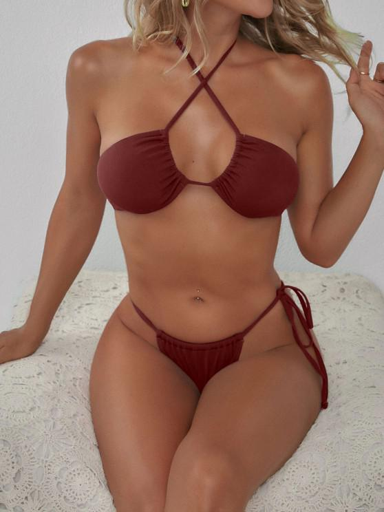 unique ZAFUL Multi Way Ribbed Tanga Bikini Swimwear - RED WINE S