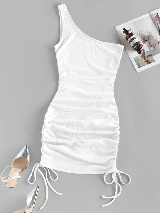 womens ZAFUL Ribbed Cinched One Shoulder Bodycon Dress - WHITE M