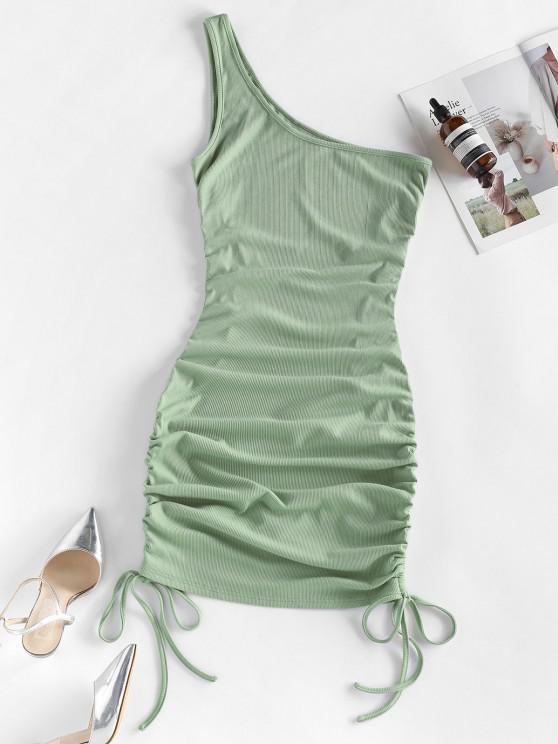 ZAFUL Bodycon Geripptes Kleid mit Einer Schulter - Grau Türkis M