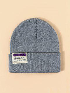 Cloth Label Turn Up Edge Knitted Hat - Light Gray