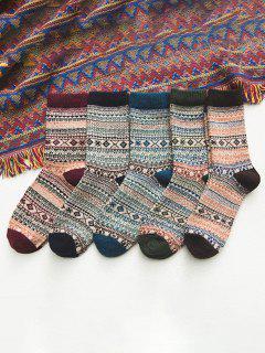 5 Paar Fur Winter Socken Set - Multi-a