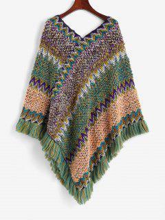 Intarsia Knit Fringed Poncho Sweater - Multi