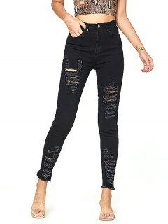 Distressed Frayed Hem High Waisted Jeans - Black L