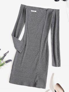 Mini Robe Côtelée Chaîne à Epaule Dénudée - Gris Foncé S