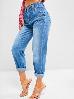 Dual Button High Rise Pencil Mom Jeans - Denim Blue M