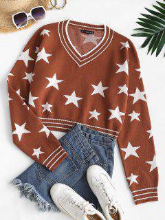 V Neck Star Graphic Stripes Panel Sweater - Coffee