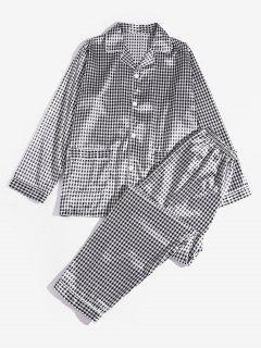 Plaid Pattern Pajama Set - Black 2xl
