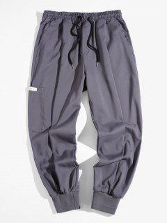 Elastic Waist Side Pocket Beam Feet Pants - Gray Xl