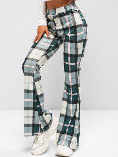 High Waisted Plaid Flare Pants - Hazel Green S