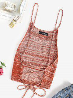 Knitted Lace Up Camisole - Coffee L