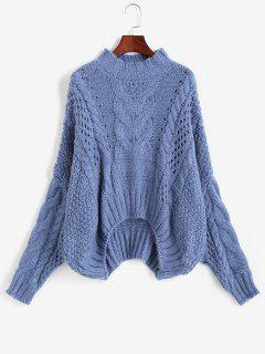 Cable Knit Chunky Oversize Sweater - Blue