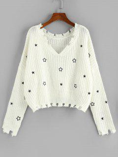 ZAFUL Star Embroidered Drop Shoulder Frayed Sweater - White M