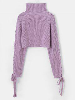 Lace Up Turtleneck Raglan Sleeve Cropped Sweater - Light Purple
