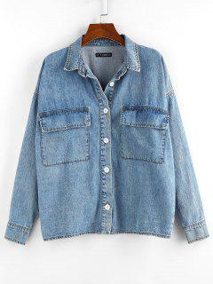 Drop Shoulder Pocket Denim Jacket - Blue S