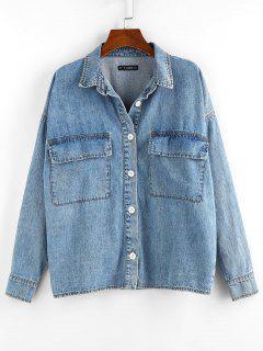 Drop-Schulter-Tasche Jeansjacke - Blau L