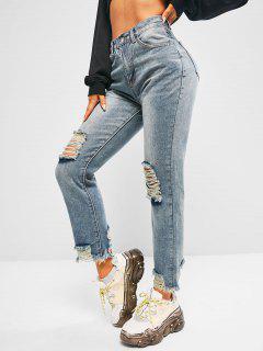 Distressed Faded Frayed Hem Stove Pipe Jeans - Denim Blue L