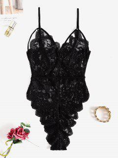 Lace Scalloped Strappy Lingerie Teddy - Black M