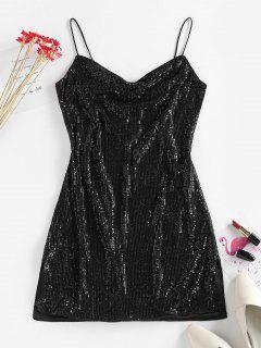ZAFUL Sequin Side Slit Party Mini Dress - Black L