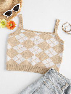 Argyle Quadrat Hals Crop Pullover Weste - Licht Kaffee L