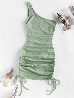 ZAFUL Ribbed Cinched One Shoulder Bodycon Dress - Grayish Turquoise S
