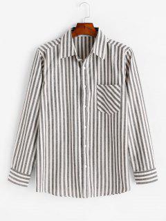 Vertical Striped Print Long Sleeve Pocket Shirt - Gray Xl