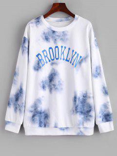 Letter Tie Dye Drop Shoulder Loose Sweatshirt - Light Blue M