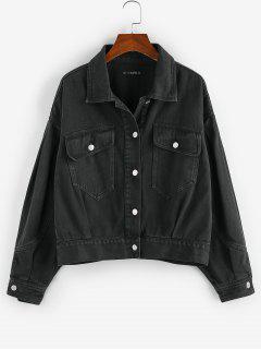 ZAFUL Flap Pockets Denim Jacket - Black M