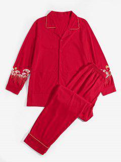 Sea Wave Koi Fish Pattern Pajama Set - Red S