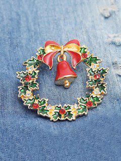 Christmas Bell Garland Shape Brooch - Lava Red
