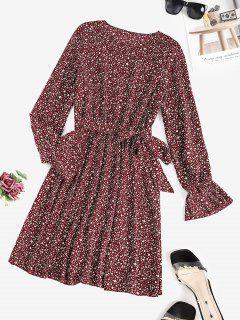 Dichter Ärmel Leopard Kleid Mit Gürtel - Tiefrot M