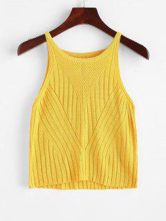 Ribbed Plain Tank Top - Yellow