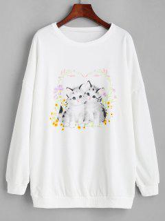 Sweat-shirt Lâche Imprimé Chat Et Fleur Graphique - Blanc S