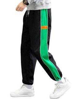 Colorblock Side Trim Panel Elastic Waist Pants - Green Xs