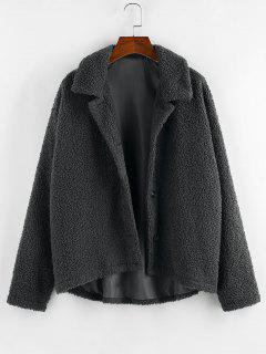 ZAFUL Drop Shoulder Button Up Long Teddy Jacket - Carbon Gray M