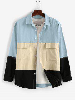 ZAFUL Long Sleeve Contrast Cargo Shirt - Blue Gray 2xl
