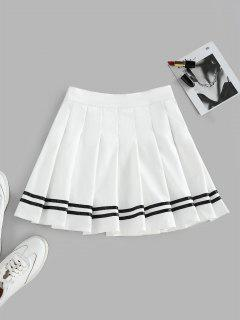 ZAFUL Knife Pleated Striped A Line Skirt - White L