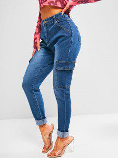 High Waisted Flap Pockets Skinny Cargo Jeans - Deep Blue Xl