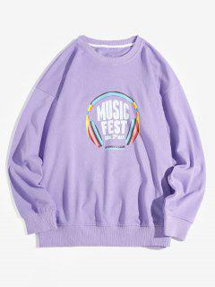 Music Fest Headphone Graphic Drop Shoulder Sweatshirt - Purple M