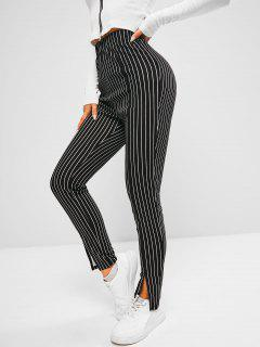 ZAFUL Pinstripe Slit Cuffs Skinny Pants - Black Xl