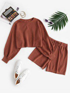 Lantern Sleeve Cropped Knitted Two Piece Set - Coffee