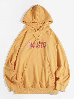 Mojito Letter Print Drop Shoulder Hoodie - Yellow 3xl