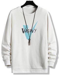 Sweatshirt Mit Buchstabe Rundhalsausschnitt - Weiß L