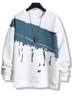 Sweat-shirt Peinture Eclaboussée Blanche Imprimée à Col Rond - Blanc Xs