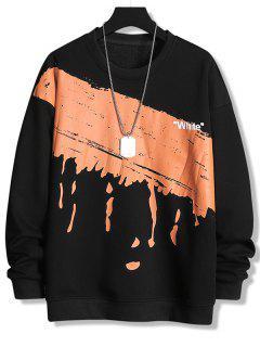 Paint Splatter White Print Crew Neck Sweatshirt - Black Xs